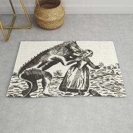 Werewolf attack Medieval etching Rug