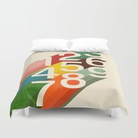 retro Duvet Covers featuring Retro Numbers by Picomodi