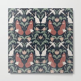 Woodland Folklore Animal Friends Damask - whimsical fox, jackalope, bird Metal Print