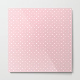 Mini White Polka dots on Pale Millennial Pink Pastel Metal Print
