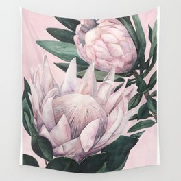 Protea Pink Background Wall Tapestry