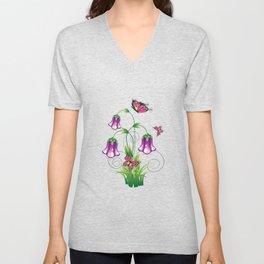 Bluebell Flower with Leaves Unisex V-Neck