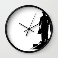 charlie chaplin Wall Clocks featuring Charlie Chaplin by Sberla