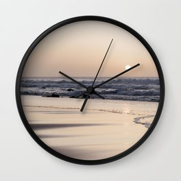Pastel sunset at the beach   Waves of the Atlantic Ocean   Fine Art Travel Photography   Wall Clock