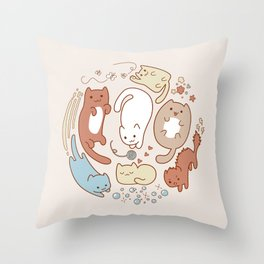 Seven cute cats. Throw Pillow