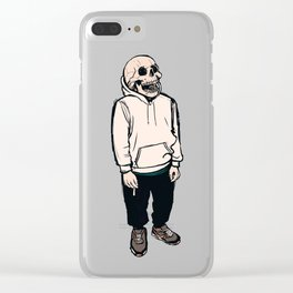 smoking skull 002 Clear iPhone Case