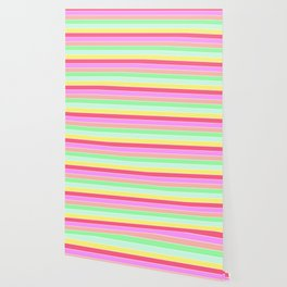 Pastel Rainbow Sorbet Horizontal Deck Chair Stripes Wallpaper