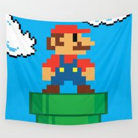 mario Wall Tapestries featuring Mario Bros by WaXaVeJu