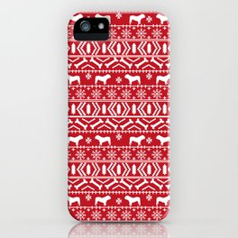 English Bulldog fair isle christmas pet portrait gifts for bulldog owners iPhone Case