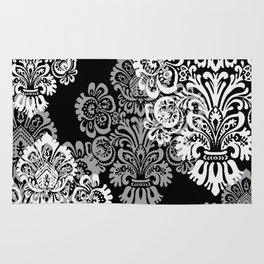 Black and Gray Damask Rug