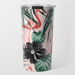 Tropical Flamingo Flower Jungle #4 #tropical #decor #art #society6 Travel Mug