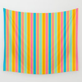 Tropical Rainbow Stripe with Yellow Wall Tapestry