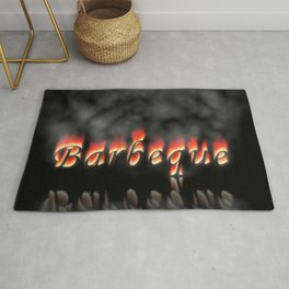 Barbeque Text On Fire Rug