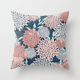 Leaves and Floral Prints, Navy Blue, Aqua, Gray and Coral Throw Pillow
