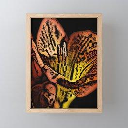 Orange Freesia Woodcut Framed Mini Art Print