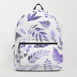 Modern hand painted purple violet watercolor leaves Backpack