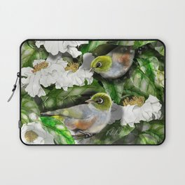Wax Eyes in a Camellia Bush Laptop Sleeve