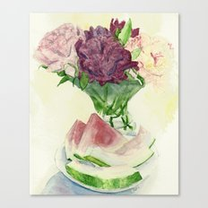 Peonies and Watermelon Canvas Print