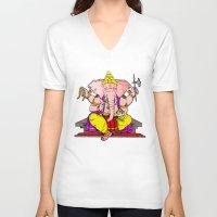 hindu V-neck T-shirts featuring Hindu god by American Artist