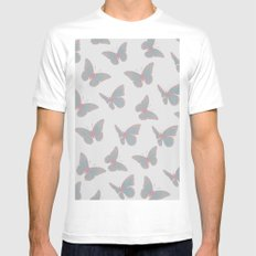 Butterflies 2 MEDIUM Mens Fitted Tee White