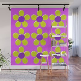 Spring Daisies Jelly Art - Lavender Yellow Pink Wall Mural