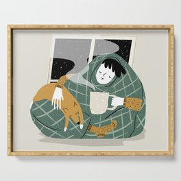 Girl and her dog have a cozy evening with a cup of hot chocolate. Serving Tray