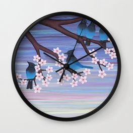 Steller's jays and cherry blossoms Wall Clock