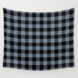 Light Slate Grey  Bison Plaid Wall Tapestry