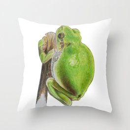 Plump Green Tree Frog Throw Pillow