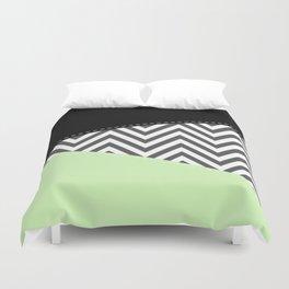 Zigzag Pattern, Chevron Pattern - Gray Green Black Duvet Cover