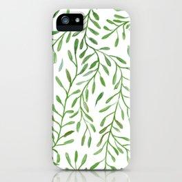 Vivid Green Tendril Botanical Watercolor Pattern iPhone Case