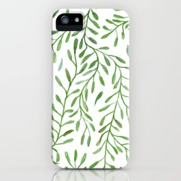 Vivid Green Tendril Botanical Watercolor Pattern iPhone Case