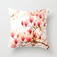 cherry blossoms Throw Pillows featuring Cherry Blossoms by Vivienne Gucwa
