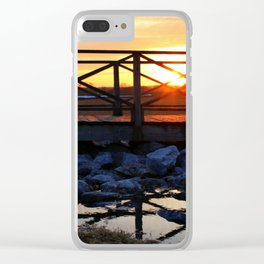 Walking Bridge with Sunset Clear iPhone Case