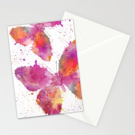 Artsy Butterfly colorful watercolor art Stationery Cards