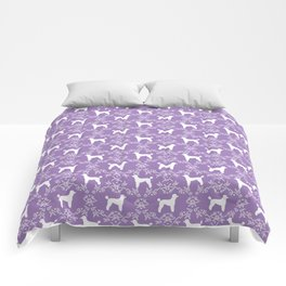 Poodle silhouette floral pattern minimal dog patterns for poodles owners lilac and white Comforters