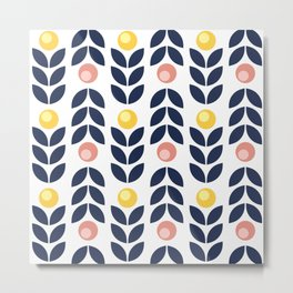 Simple yellow and pink flowers pattern Metal Print