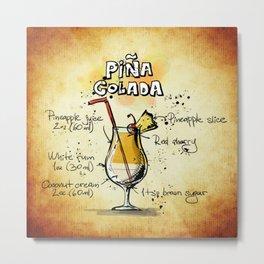 Piña Colada Recipe Illustration Metal Print