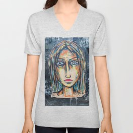 art street portrait Unisex V-Neck
