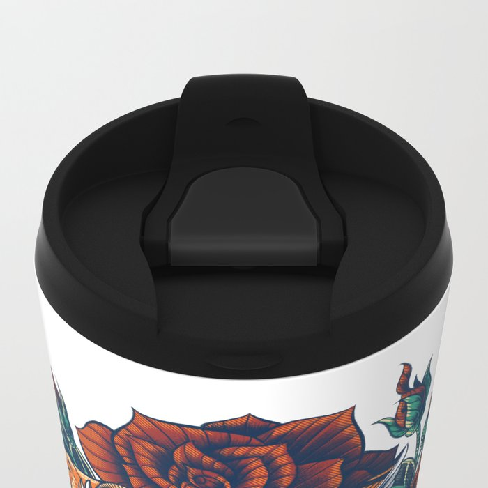 Ornate Leopard (Color Version) Metal Travel Mug