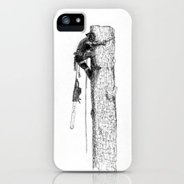 Tree surgeon Arborist using large stihl chainsaw iPhone Case