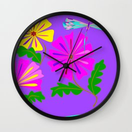 A Spring Floral Design with a Dragonfly Wall Clock