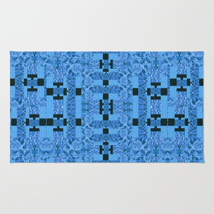 Blue and Black Abstract Dimensional Patchwork Rug