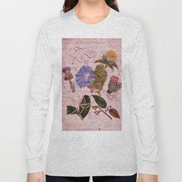 Botanical Study #4, Vintage Botanical Illustration Collage Art Long Sleeve T-shirt