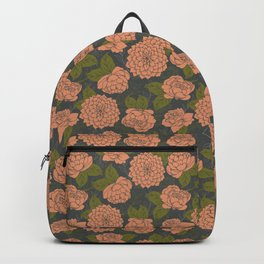 Floral Pattern in Coral - Green - Grey Backpack