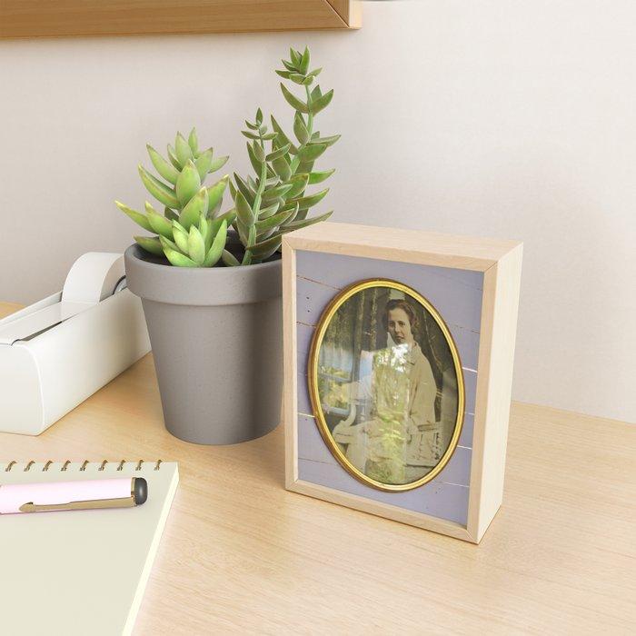 Lady portrait in golden frames Framed Mini Art Print