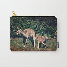 Kangaroo and Joey on the Lookout, Vintage Look Carry-All Pouch