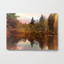 Mirror Pond, Perfect Stillness At Sunset Metal Print