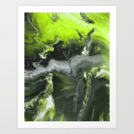 Lime Green Lightning Art Print