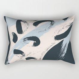 Modern abstract black ivory blush blue brushstrokes Rectangular Pillow